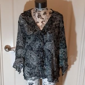 Chico's Black & White Silk Blouse Shirt Top